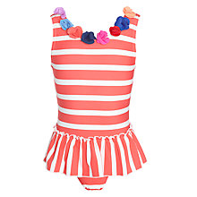 Buy John Lewis Girl Frill Stripe Swimsuit, Red/White Online at johnlewis.com