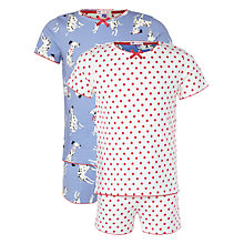 Buy John Lewis Girl Short Sleeve Dalmatian Print Pyjamas, Pack of 2, Cream Online at johnlewis.com