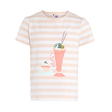 Buy John Lewis Girl Stripe Ice Cream Motif T-Shirt, Cream/Rose Online at johnlewis.com