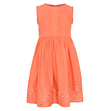 Buy John Lewis Girl Sleeveless Embroidery Pintuck Dress, Orange Online at johnlewis.com