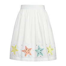 Buy John Lewis Girl Star Sequined Flared Skirt, White Online at johnlewis.com