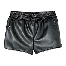 Buy Mango Kids Girls' Faux Leather Shorts, Black Online at johnlewis.com