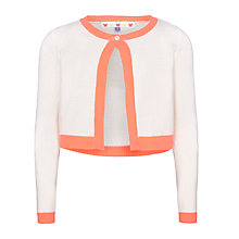 Buy John Lewis Girl Neon Trim Cardigan, Gardenia Online at johnlewis.com