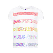 Buy John Lewis Girl Print Sequin T-Shirt, White Online at johnlewis.com