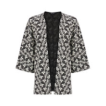 Buy Warehouse Jacquard Kimono Jacket, Black Online at johnlewis.com