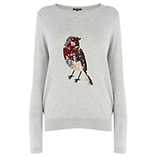 Buy Warehouse Sequin Robin Jumper, Light Grey Online at johnlewis.com