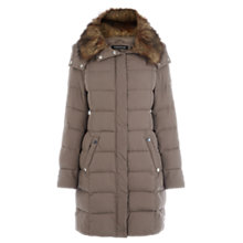 Buy Warehouse Mock Down Faux Fur Collar Coat, Mink Online at johnlewis.com