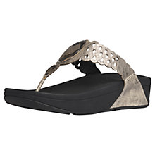 Buy FitFlop Bijoo Snakeskin Leather Toe Post Sandals, Gold Online at johnlewis.com