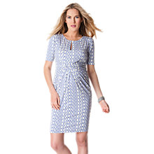 Buy Séraphine Maya Aztec Front Twist Short Sleeved Maternity Dress, Blue/White Online at johnlewis.com