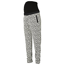 Buy Mamalicious Jasmin Loose Fit Jersey Maternity Trousers, Black/White Online at johnlewis.com