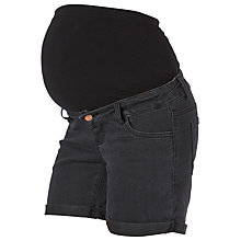 Buy Mamalicious Alberte Denim Maternity Shorts, Black Online at johnlewis.com