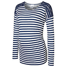 Buy Mamalicious Tamira Long Sleeve Jersey Maternity Top, Navy/White Online at johnlewis.com