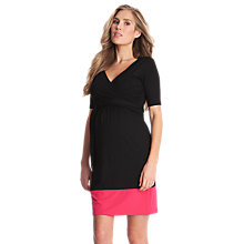 Buy Séraphine Enja Wrap Maternity/Nursing Dress, Black/Pink Online at johnlewis.com