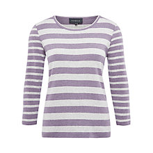 Buy Viyella Mix Stripe Jersey Top, Grey Marl Online at johnlewis.com
