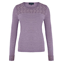 Buy Viyella Flower Embroidered Jersey Top, Smokey Lavender Online at johnlewis.com