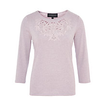 Buy Viyella Embroidered Jersey Top, Lavender Online at johnlewis.com