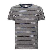 Buy Bellerose Slub Jacquard Stripe T-Shirt, White/Navy Online at johnlewis.com