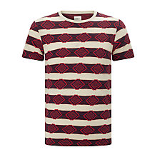 Buy Bellerose Slub Jacquard T-Shirt, Red/Cream Online at johnlewis.com