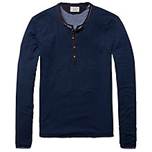 Buy Scotch & Soda 2 in 1 Henley Long Sleeve Top, Navy Marl Online at johnlewis.com