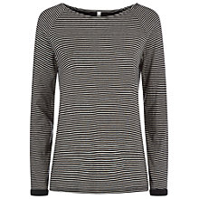 Buy People Tree Amara Double Gauze Top, Black Stripe Online at johnlewis.com