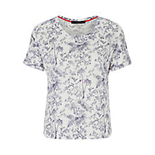 Buy Oui Linen Print Top, Blue/White Online at johnlewis.com