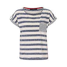 Buy Oui Cap Sleeve Stripe Top, Blue/White Online at johnlewis.com