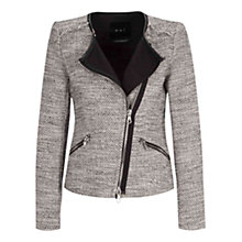 Buy Oui Zip Front Jacket, Black/Off White Online at johnlewis.com