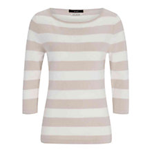 Buy Oui Sleeve Stripe Jumper, Stone/White Online at johnlewis.com