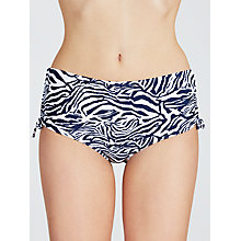 Buy John Lewis Zebra Luxe Ruched Bikini Shorts, Navy / White Online at johnlewis.com