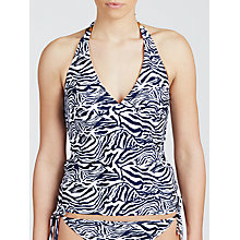 Buy John Lewis Zebra Luxe Cup Tankini Top, Navy / White Online at johnlewis.com