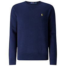 Buy Polo Ralph Lauren Crew Neck Sweatshirt, Navy Online at johnlewis.com