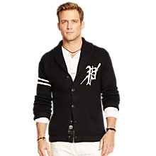 Buy Polo Ralph Lauren Varsity Shawl Neck Cardigan, Black/White Online at johnlewis.com
