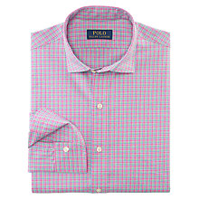 Buy Polo Ralph Lauren Slim Poplin Gingham Check Shirt, Pink Online at johnlewis.com
