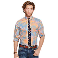 Buy Polo Ralph Lauren Custom Fit Plaid Oxford Shirt, Orange Online at johnlewis.com