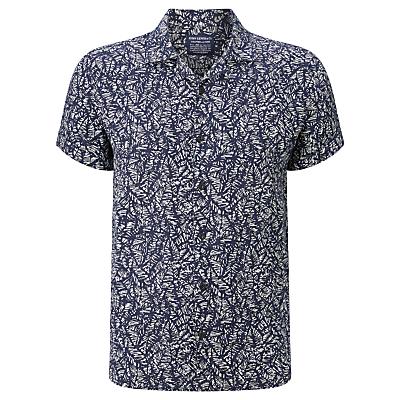 JOHN LEWIS  Co. Tropical Print Linen Shirt Navy £20.00 AT vintagedancer.com