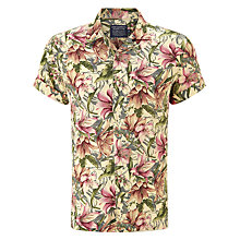 Buy JOHN LEWIS & Co. Vintage Floral Linen Bowling Shirt, Khaki Online at johnlewis.com
