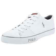 Buy Polo Ralph Lauren Cantor Canvas Trainers, White Online at johnlewis.com