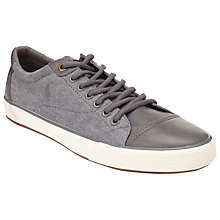 Buy Polo Ralph Lauren Klinger Leather and Canvas Trainers, Grey Online at johnlewis.com