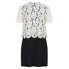Buy Warehouse Lace Top Playsuit, White/Black Online at johnlewis.com