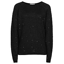 Buy Reiss Sequin Jumper, Black Online at johnlewis.com