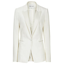 Buy Reiss Longline Slim Fitted Wool Jacket, Cream Online at johnlewis.com