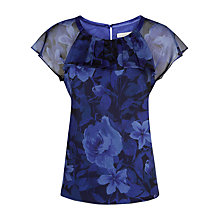 Buy Jacques Vert Rose Print Top, Cobalt Online at johnlewis.com
