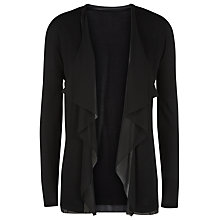 Buy Jacques Vert Chiffon Trim Waterfall Cardigan, Black Online at johnlewis.com