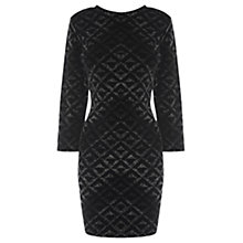 Buy Warehouse Glitter Velvet Dress, Black Online at johnlewis.com