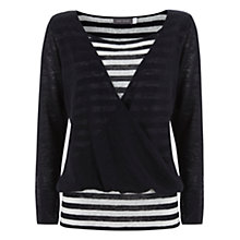 Buy Mint Velvet Wrap Knit Top, Navy / Ivory Online at johnlewis.com