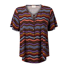 Buy East Olga Print Jersey Top, Espresso Online at johnlewis.com
