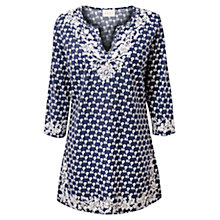 Buy East Ellie Print Cotton Tunic Top, Ink Online at johnlewis.com