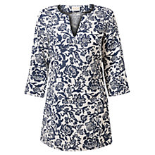 Buy East Calypso Print Linen Tunic, Sky Online at johnlewis.com