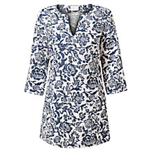 Buy East Calypso Print Linen Tunic Top, Ink Online at johnlewis.com