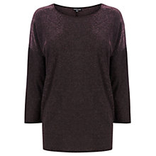 Buy Warehouse Metallic Drop Sleeve Top, Dark Pink Online at johnlewis.com